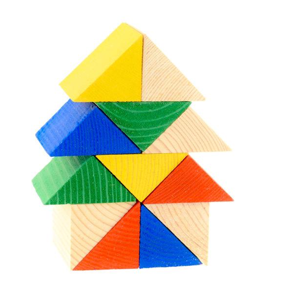 Деревянный  цветной конструктор оптом