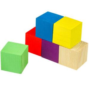 Деревянные цветные кубики оптом