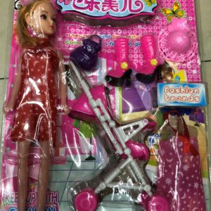 Кукла модель с малышкой в коляске (7 предметов) оптом
