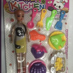 Кукла с набором посуды и еды (12 предметов) оптом